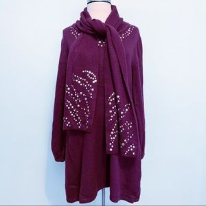 Style & Co Plum Sweater Dress With Removable Scarf